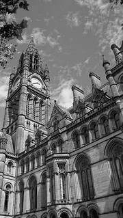 Image of Manchester Town Hall. summer england blackandwhite bw english history clock tourism monochrome rain architecture clouds square manchester grey cloudy library sony albert tourist clocktower townhall british neogothic showers touristattraction 340 albertsquare a77 engalnd alfredwaterhouse gradeonelisted twentytofour