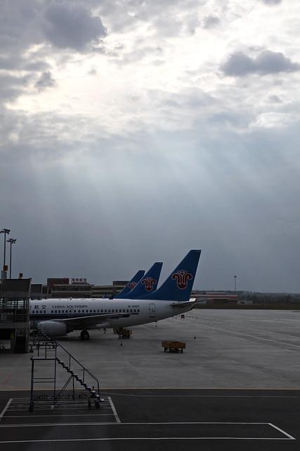 Sun light falling onto Urumqi airport ウルムチ国際空港