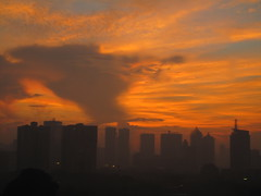 Dawn breaking over Pacific Place, Jakarta, Indonesia
