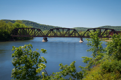 old railroad travel trestle bridge blue trees usa green dan train river landscape iron day pennsylvania steel scenic rusty rail sunny rr hills clear worn weathered warren daytime allegheny twotrack railroading dangler threespan dandangler