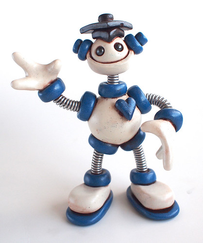 Blue Bixy Graduation Grungy Bot Mini Robot Sculpture by HerArtSheLoves