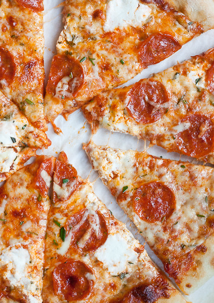 3 Cheese Rosemary and Pepperoni Pizza