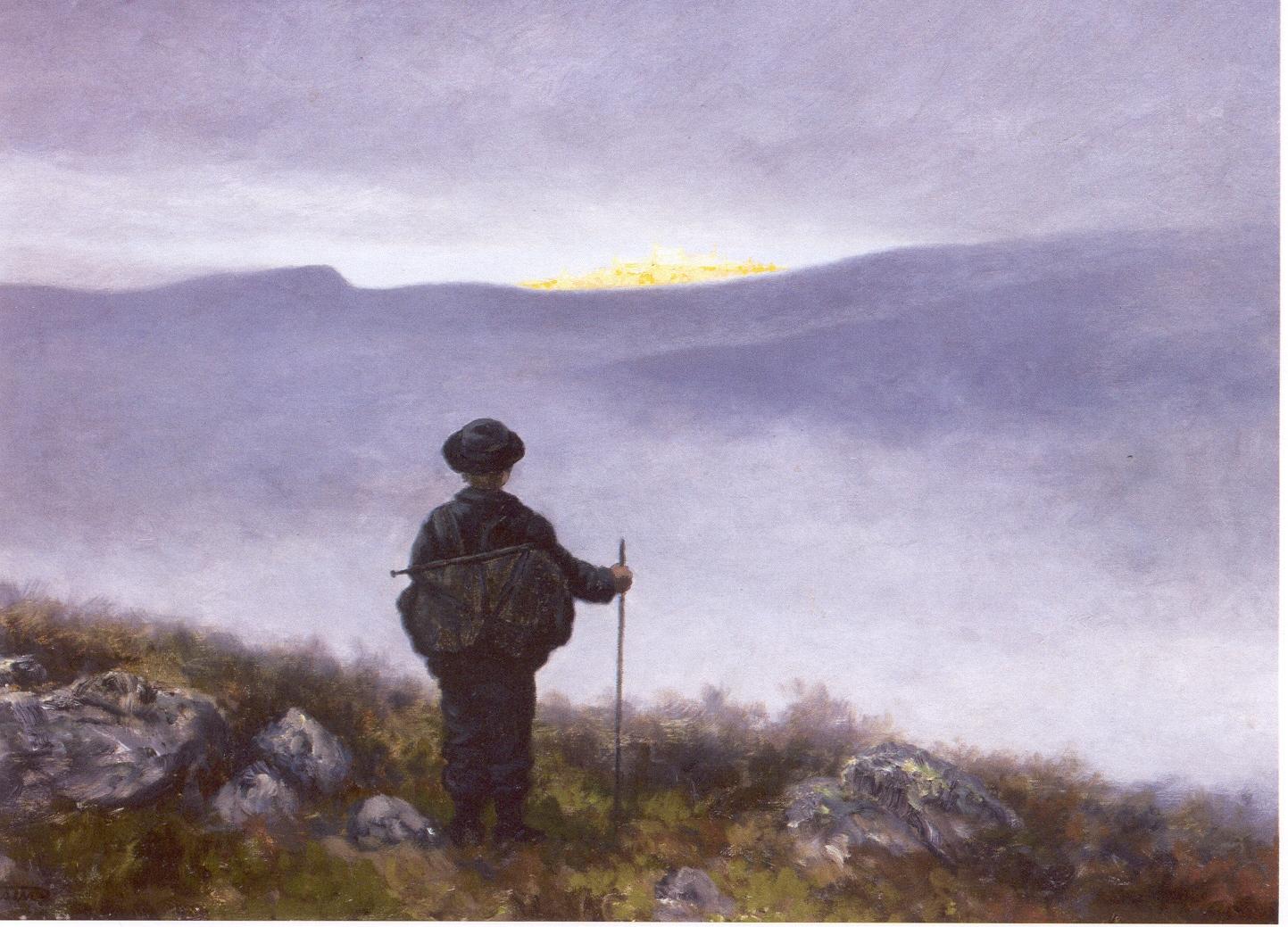 Viajero en la niebla. Obra de Theodor Severin Kittelsen. 1900