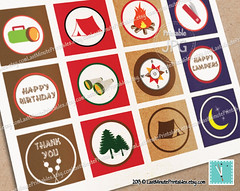 USD 2.99, campout party, campfire, camp printable, happy camper, collage template, bottlecap template, camp clipart, camp invitation, camper, circle