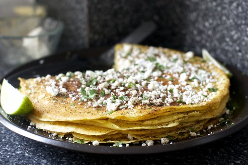 charred corn crepe stack, mexican street corn style