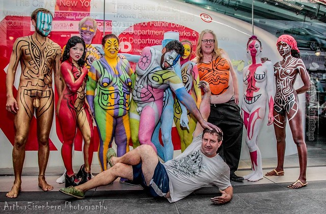 naturist 0014 body paint art, Times Square, New York, NY, USA