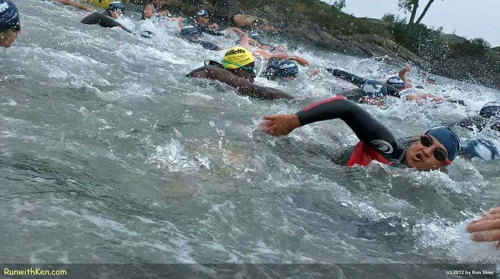 We launch ourselves into the open water--swimming through FROTH and fury!  At the 2012 Witch City Triathlon.