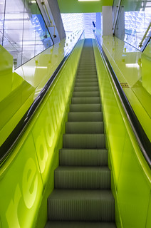 Neon escalator in Seattle Public Library