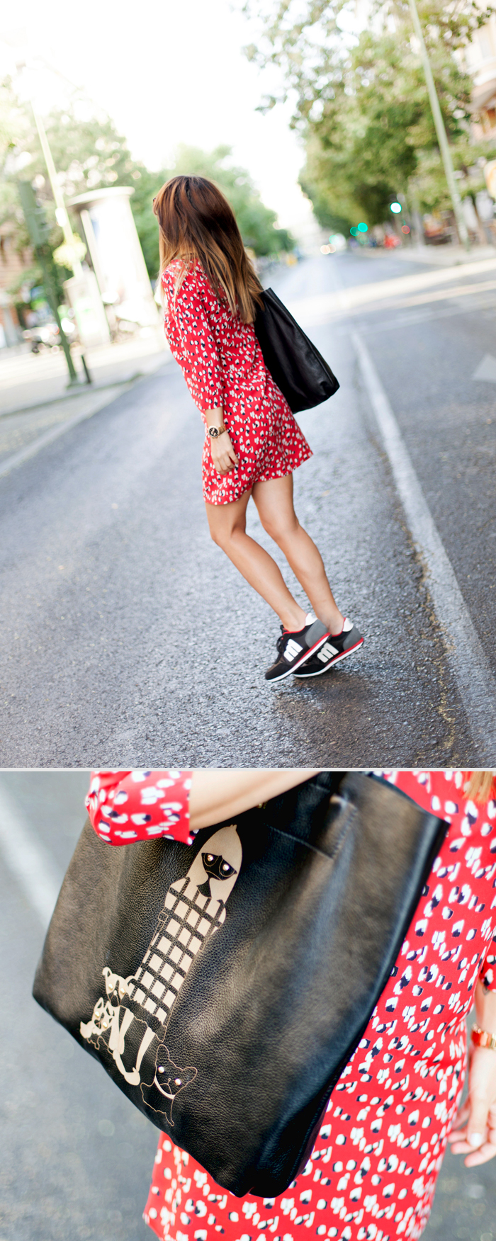 street style barbara crespo just for fun not to run! mustang sneakers outfit