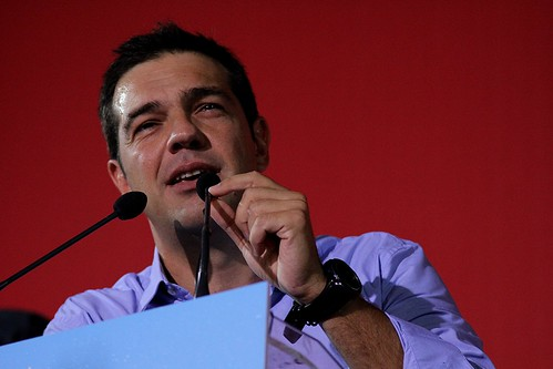Alexis Tsipras, leader of SYRIZA speaking in the city of Thessaloniki