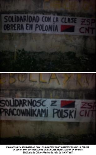 Pancartas en solidaridad con la lucha de los trabajadores y trabajadoras en Polonia