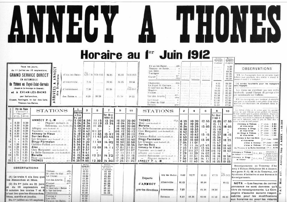 1912 thones timetable