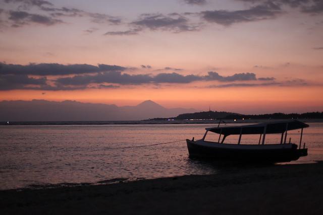 Sunset back over Gili Trawangan, with Gunung Agung (in Bali) in the distance