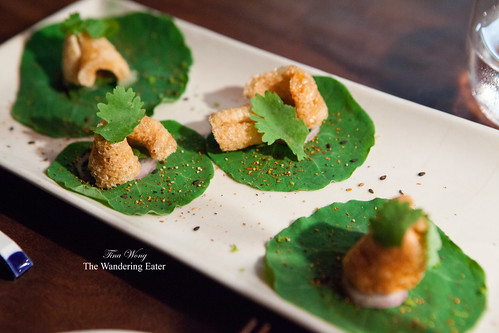 Course 2 - Pork cracklings, togarashi, parsley