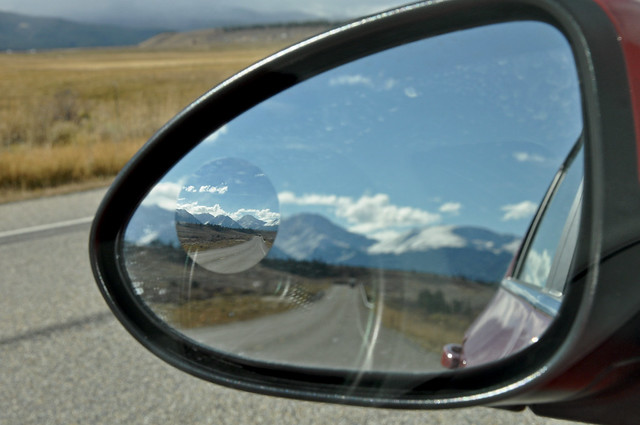 only the blind spot mirror in focus