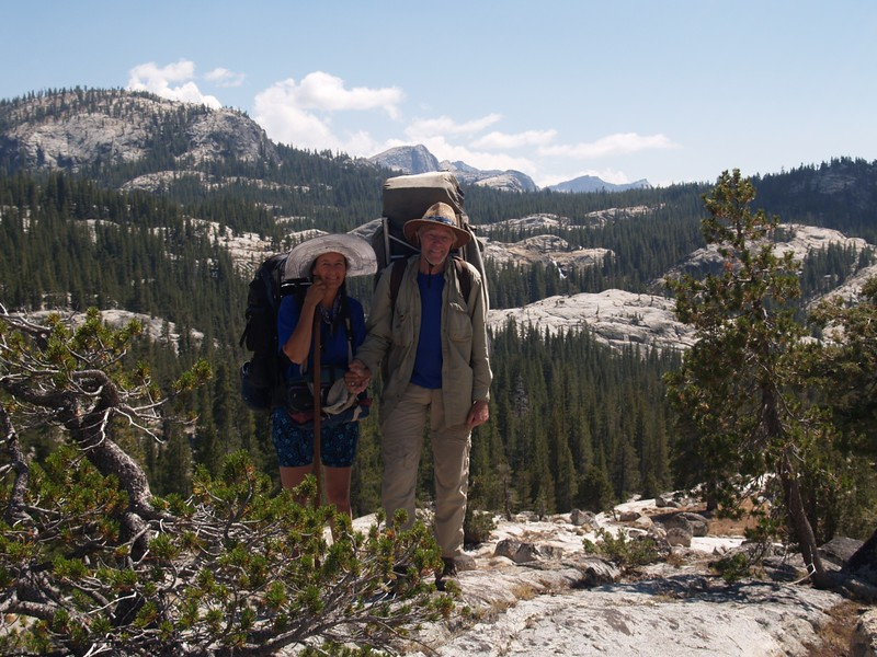 The two of us on the PCT with Tuolumne Falls in the background