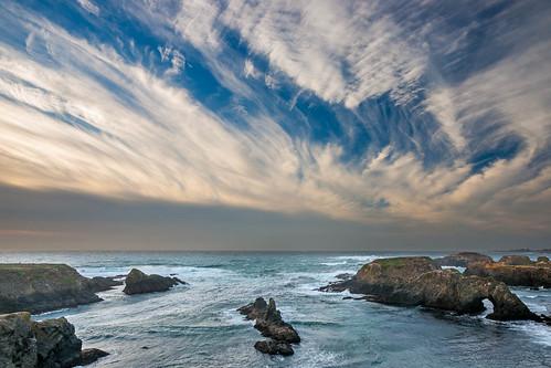 ocean california nature water rock clouds landscape coast arch unitedstates pacific shoreline pacificocean shore mendocino seastack