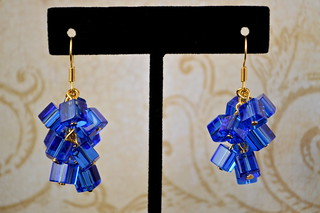 Brilliant Blue Clustered Cube Earrings