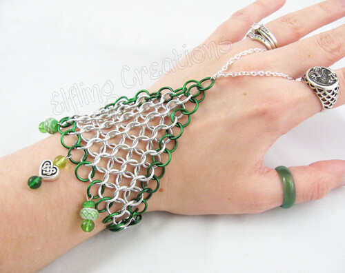 Green and Silver Chainmaille Handflower