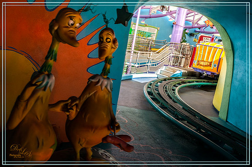 Image of characters on Seuss Landing Trolley Ride