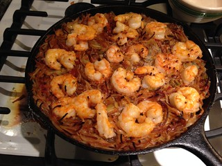 Spanish Toasted Pasta and Shrimp