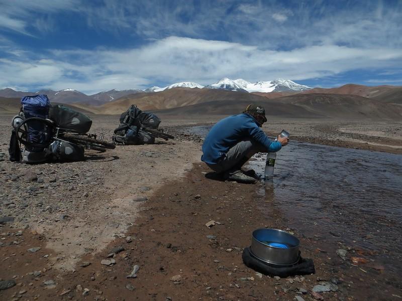 Collecting water from the Rio de Quebrada Ancho