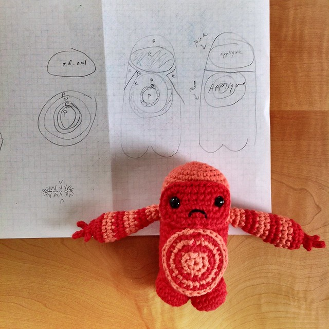 Red yarn pal with notes