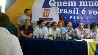 Dirigentes do Solidariedade participam de evento com Aécio Neves em Santos