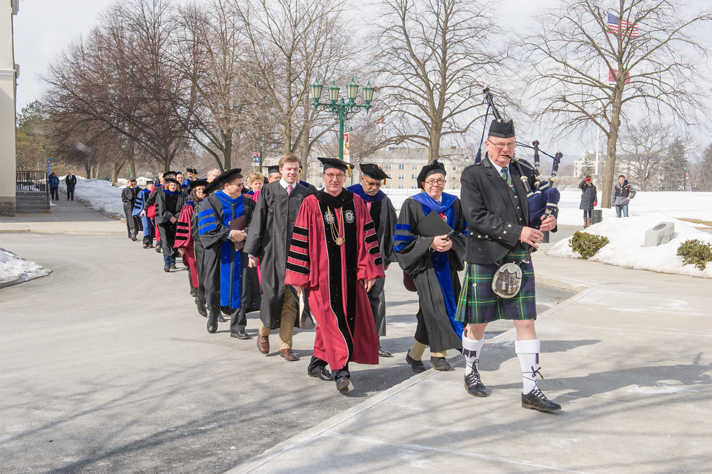 President Ainlay and Professor William Finlay lead the processional into Memorial Chapel.