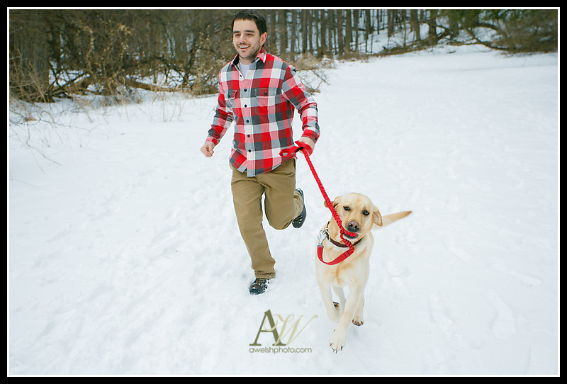 rochester ny wedding engagement photographer andrew welsh outdoors unique authentic natural park hiking snowshoe winter snow dog canine portrait