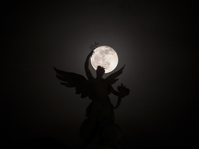 The angel has the moon