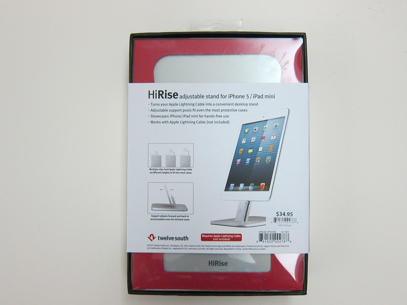 Twelve South HiRise for iPhone 5 & iPad Mini - Box Back