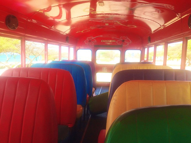 the inside of the red bus was magical