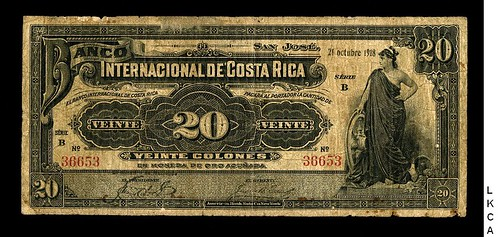 Lot 228 Costa Rica 20 Colones 21.10.1918