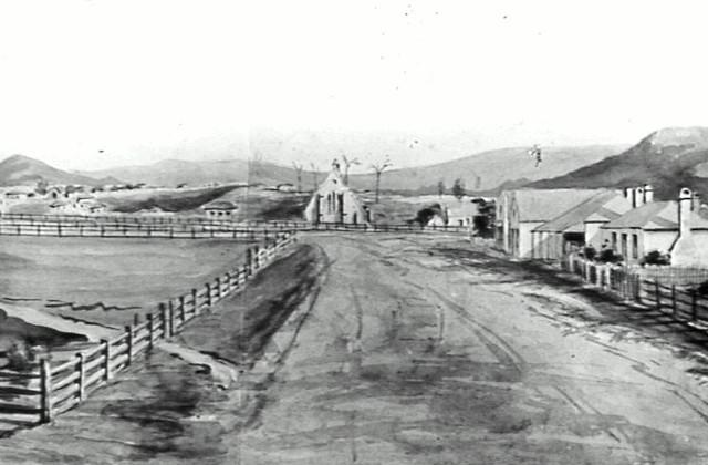 Market Square and Roman Catholic Church Wollongong c.1850 painting [RAHS Photograph Collection]