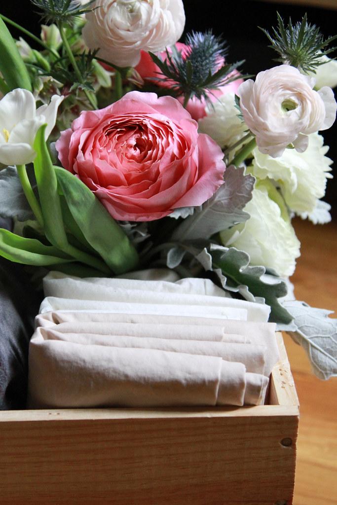 fresh flowers, fresh linens