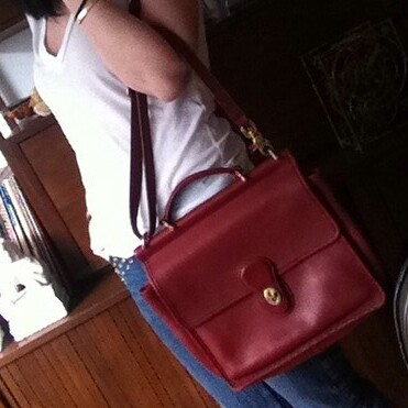 Coach red leather satchel from tag sale in Great Neck