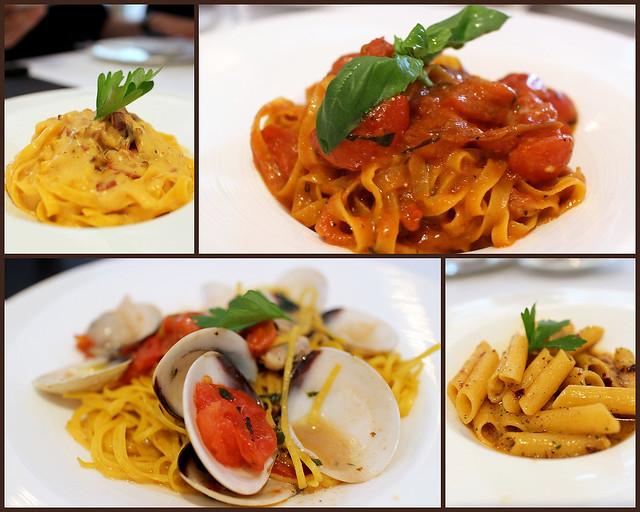 Canon EOS M collage: Pastas - carbonara, pomodoro, vongole, aglio olio