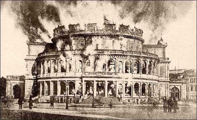 The Semperoper in Dresden on Fire (1869)