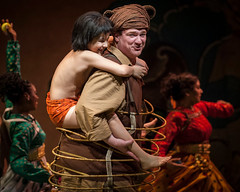 Akash Chopra (Mowgli) and Kevin Carolan (Baloo) in Tony Award winner Mary Zimmerman's new musical adaption of THE JUNGLE BOOK, photo: Liz Lauren