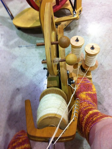Almost full bobbin of plied Teeswater. by BlueDragon2