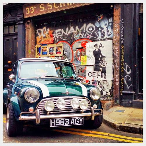 Austin Mini Cooper in London Brick Lane.