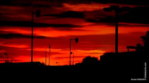 city red summer photoshop sunrise lightsandshadows shadows montreal sunny lamppost fujifilm 2013 awardtree brunolaliberté
