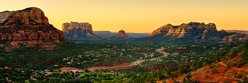 road morning trees sky panorama vortex mountains history sunrise airport ancient highway glow time sedona vista redrock hdr highdynamicrange mesa bellrock courthousebutte