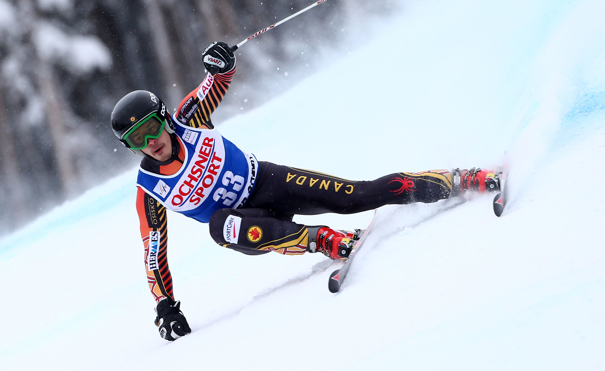 Morgan Pridy charges down the hill during the super-G at the FIS Alpine World Cup in Beaver Creek, USA