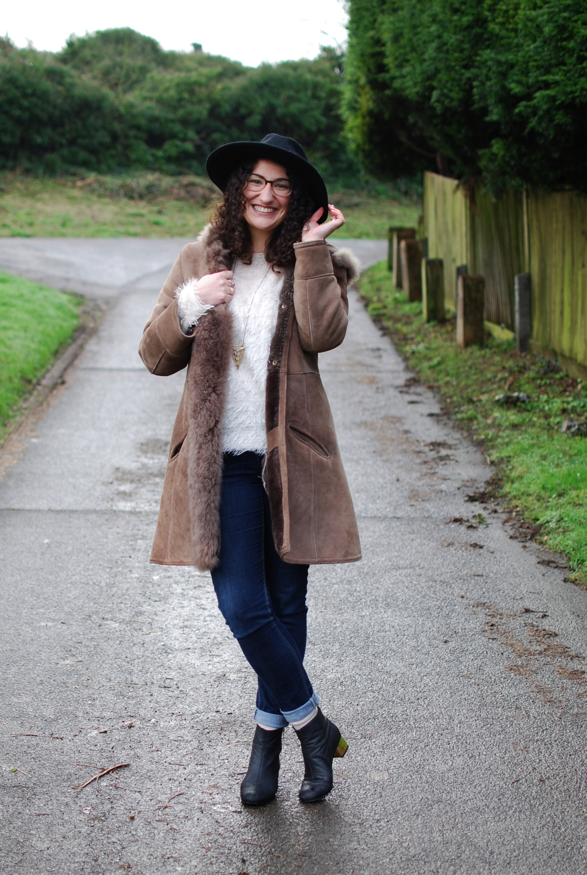 chambray and curls vintage sheepskin coat