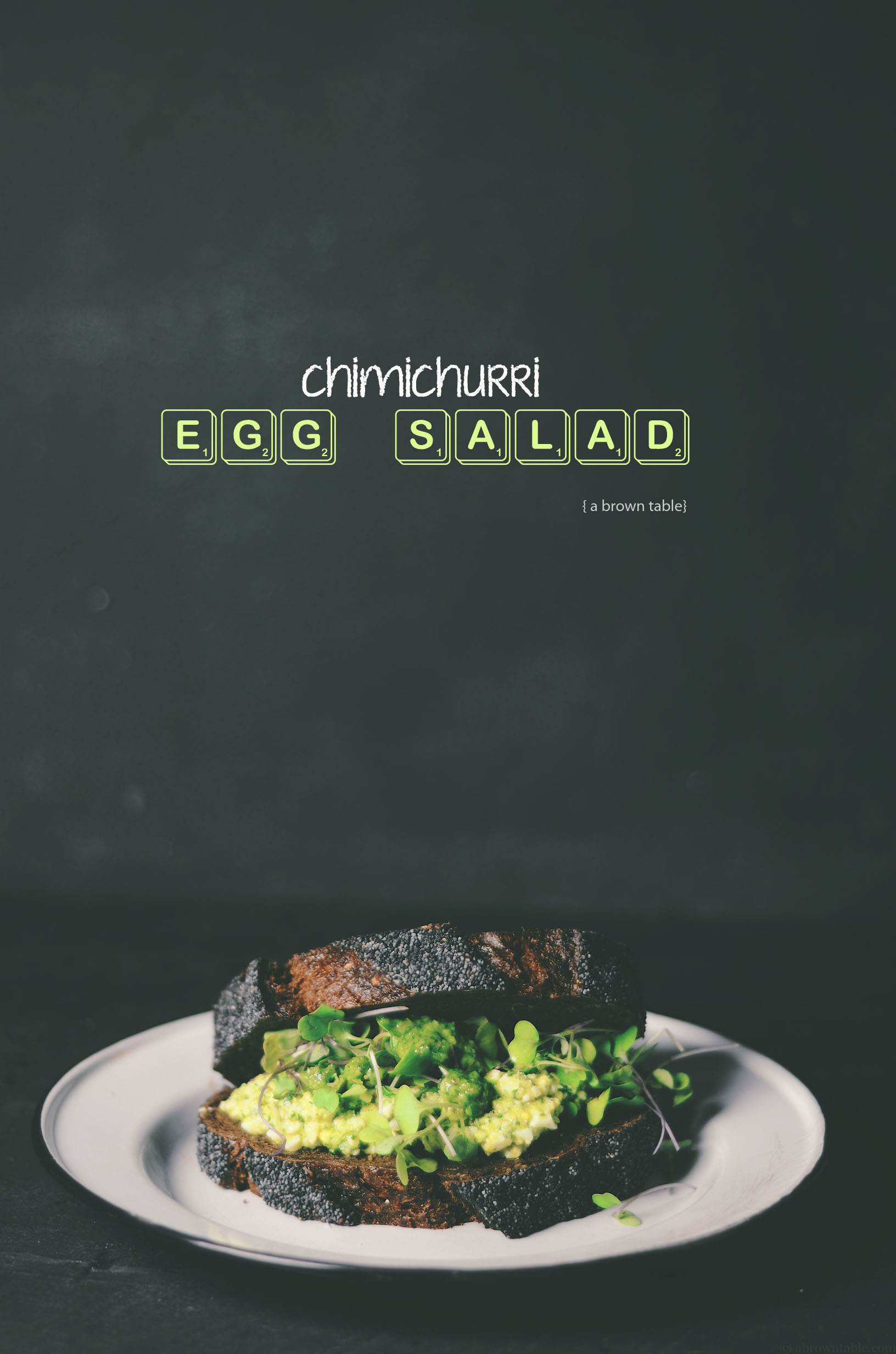 chimichurri flavored egg salad sandwich