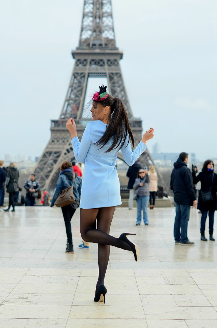 DSC_6018 Baby Blue Zara dress, Paris, Eiffel tower