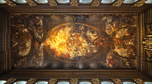 Ceiling of the Painted Hall, the Old Royal Naval College, Greenwich London