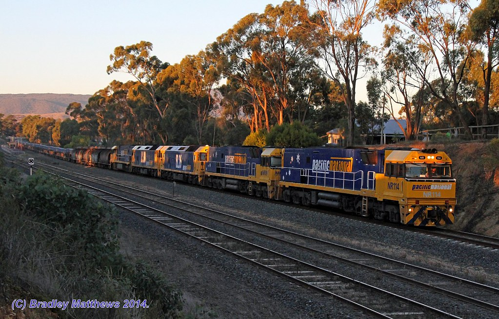 NR114-NR89-BL26-BL30-NR10 with 1WX2 steel goods to Port Augusta via Melbourne, ex Port Kembla at Broadford (14/4/2014) by Bradley Matthews